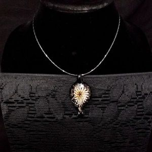 Jewelry - sterling silver necklace with glass flower pendent